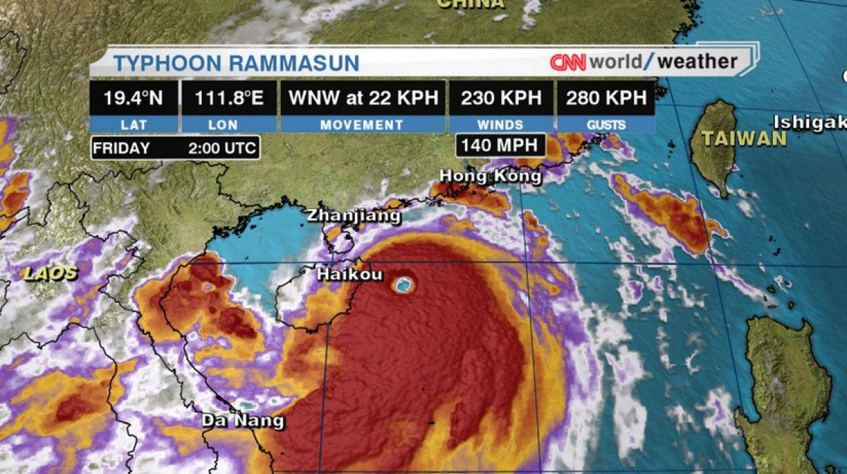 Histórico tufão extremamente intenso atinge o litoral da China