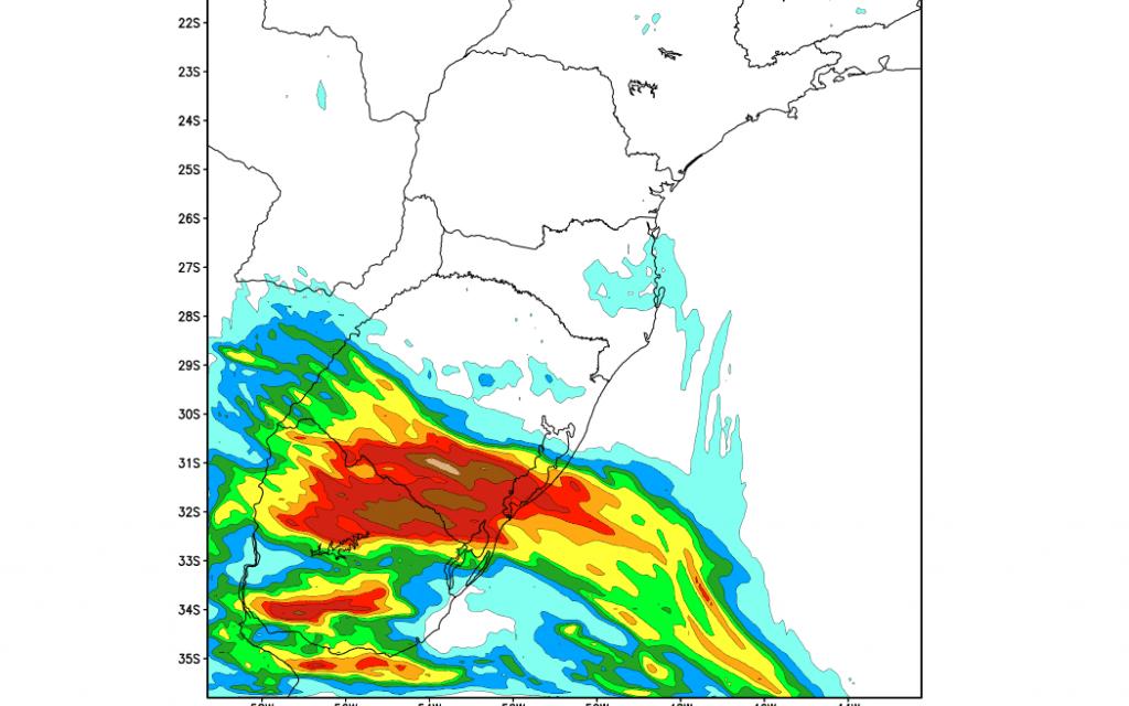 ***ALERTA*** Elevados volumes de chuva no Rio Grande do Sul
