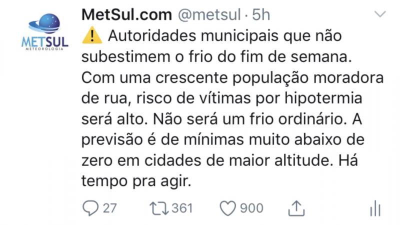Análise Especial – Onda de frio e neve no Sul do Brasil (3/7)