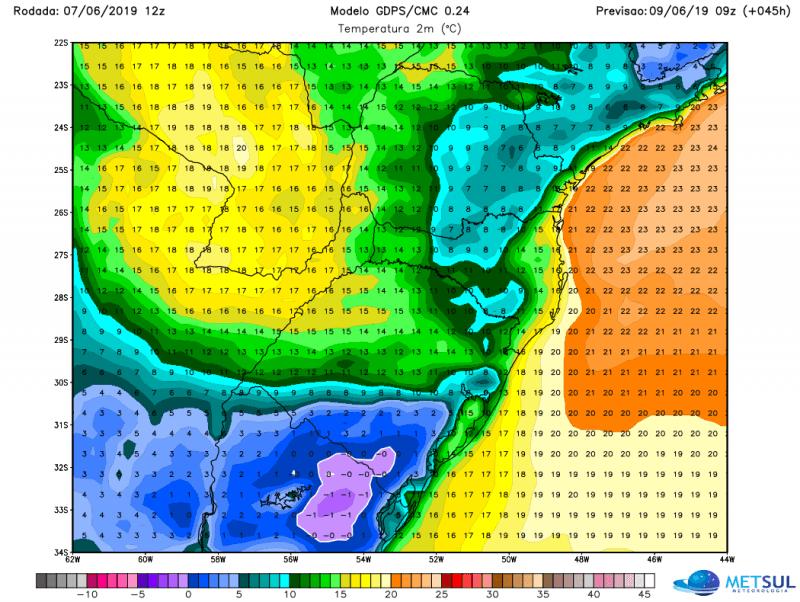 Pulso de ar polar atinge o Uruguai e o Sul gaúcho neste fim de semana