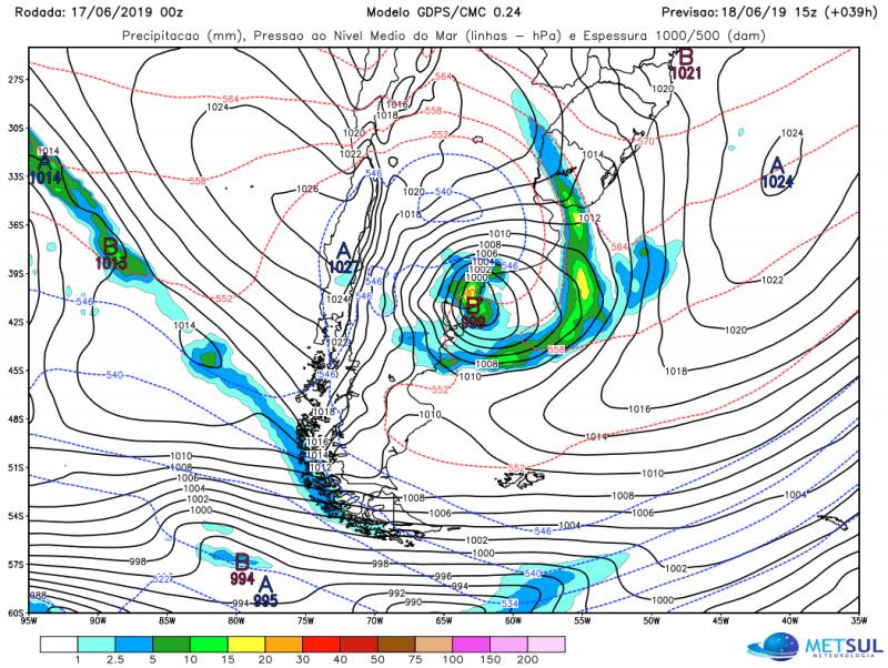 Ciclone na Argentina vai trazer rajadas fortes de vento