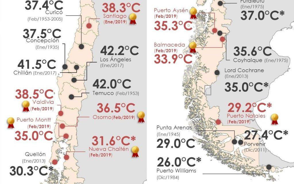 Incêndios florestais com calor recorde no Chile e Patagônia