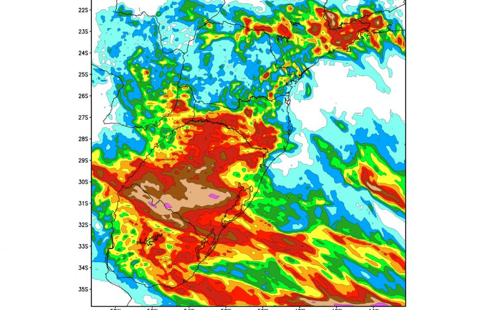 Chuva volumosa no Rio Grande do Sul