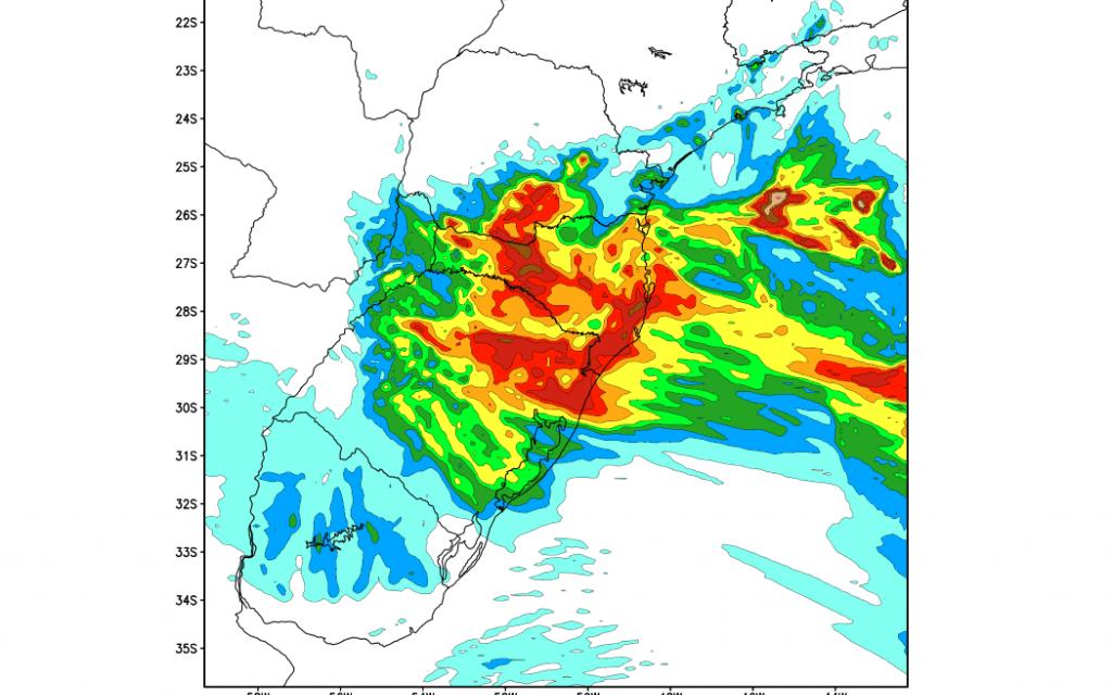 Volumes altos de chuva em pontos entre o RS e SC
