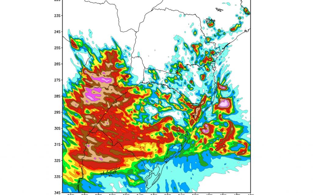 Parte do Rio Grande do Sul terá chuva superior a um mês em dias