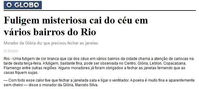 Poeira registrada no Rio de Janeiro pode ter origem vulcânica