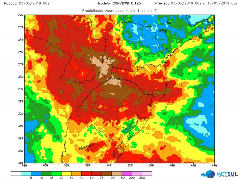 Período de instabilidade trará altos volumes de chuva no Sul do Brasil