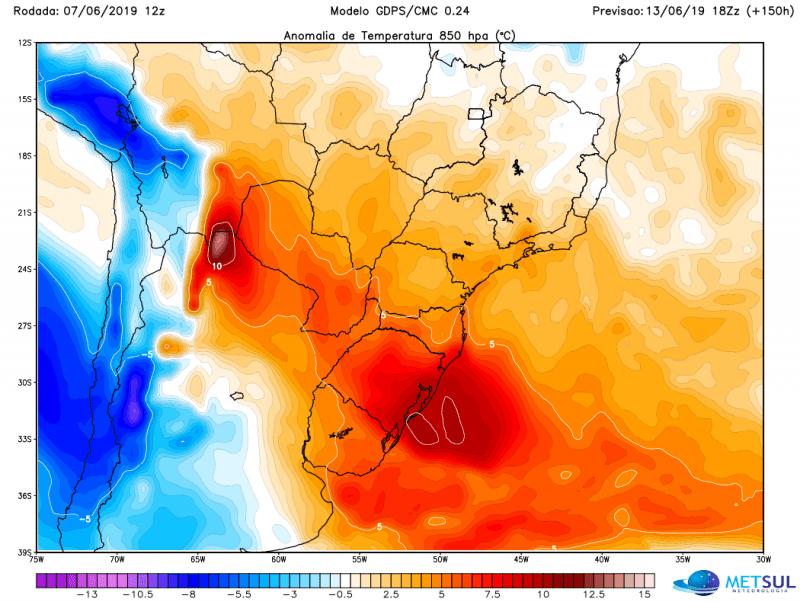 Sul do Brasil experimentará vários dias de temperatura alta