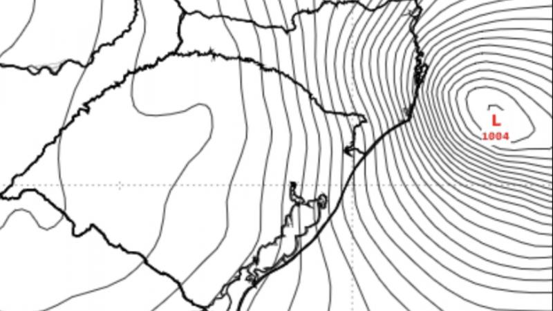 Ciclone se forma na costa do Sul do Brasil entre hoje e amanhã