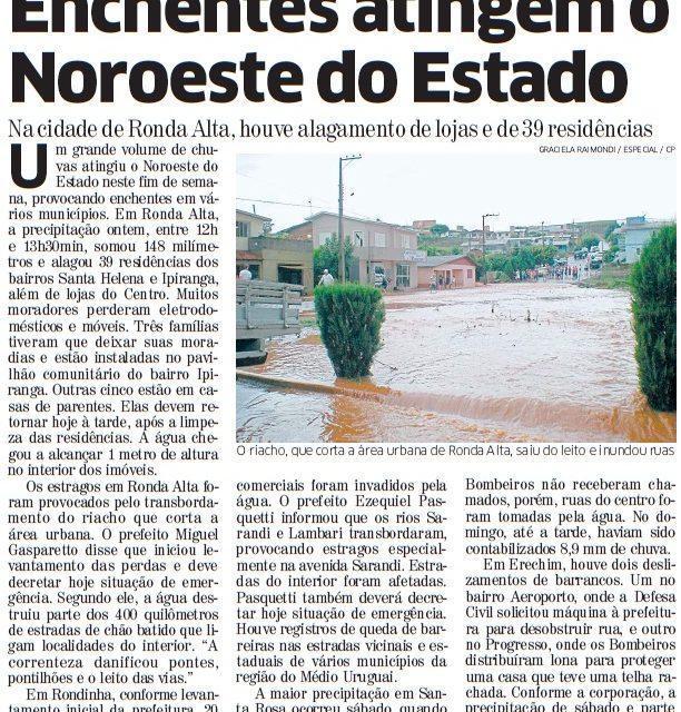Chuva faz estragos no interior e MetSul mantém alerta para o Estado