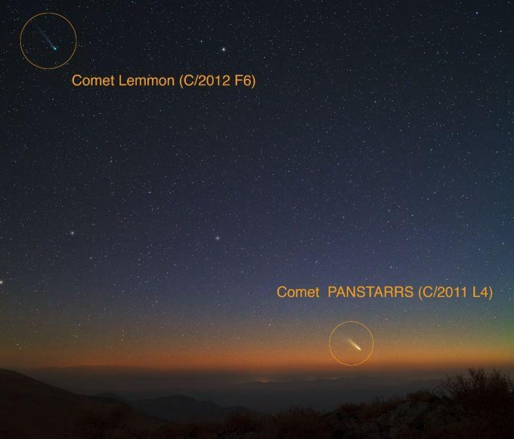 Cometas C/2012 F6 Lemmon e C/2011 L4 Pan-STARRS no céu do Rio Grande do Sul