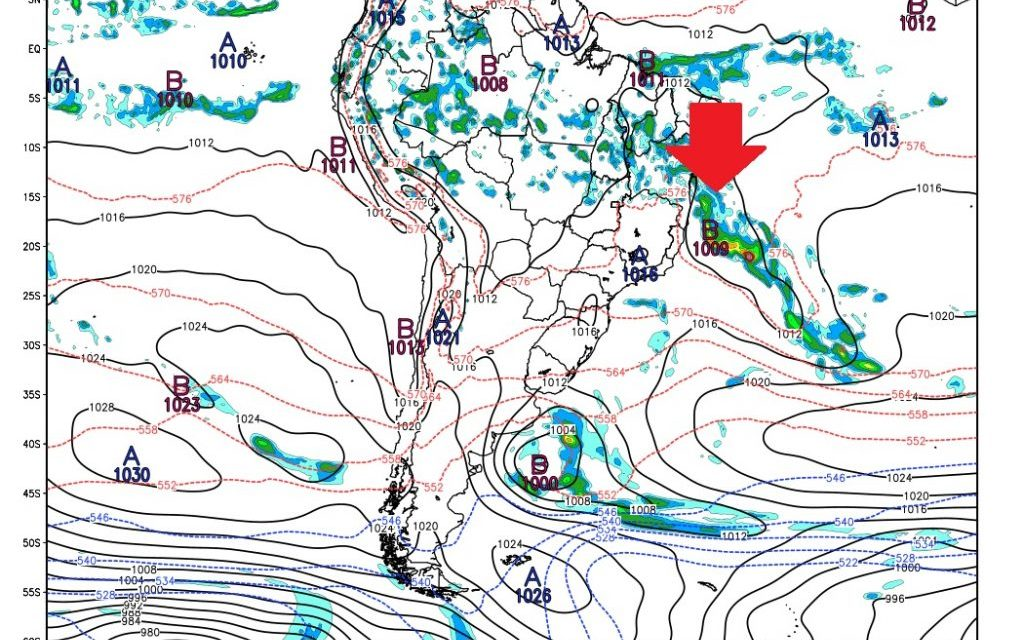 Ciclone anômalo poderá se formar na Costa do Brasil