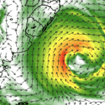 Novo ciclone extratropical no Atlântico repercutirá no Sul e no Sudeste