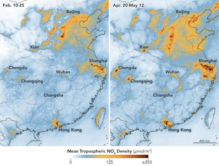 Poluição volta ao normal na China após o fim do lockdown