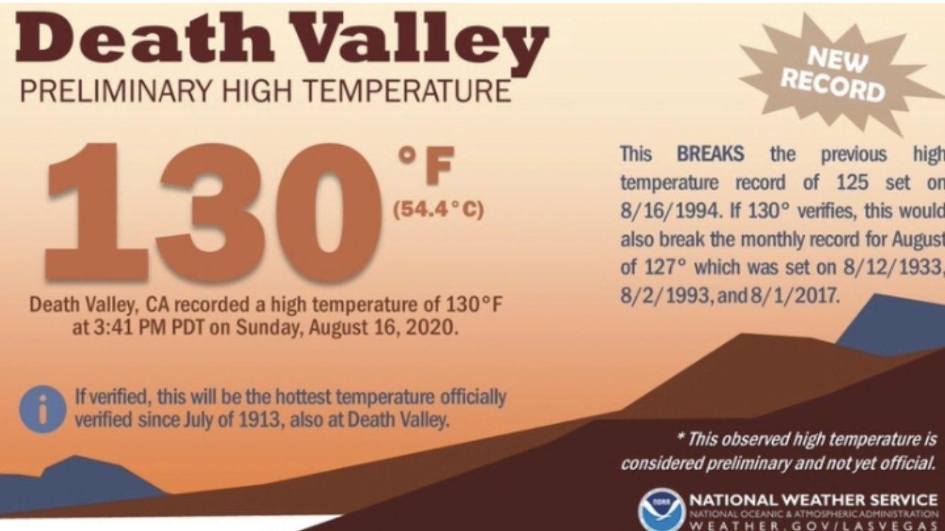 EUA podem ter tido ontem a mais alta temperatura já registrada no planeta