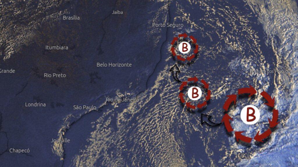 Previsão do tempo – Ciclone enfraquece na costa do Sudeste do Brasil