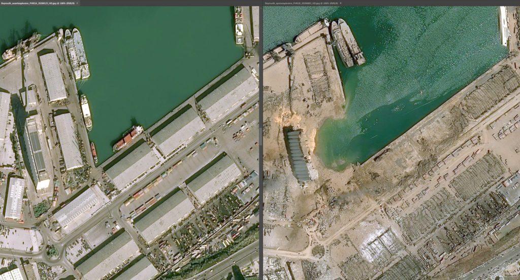 Imagens de satélite mostram o antes e depois da explosão em ...