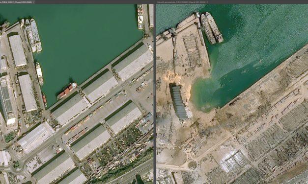 Imagens de satélite mostram o antes e depois da explosão em Beirute