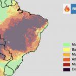 Risco muito alto a extremo de fogo em metade do Brasil