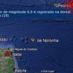 Teremoto muito forte no Atlântico a Nordeste de Fernando de Noronha