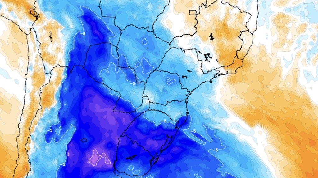 Massa de ar frio no Centro e Sul do Brasil