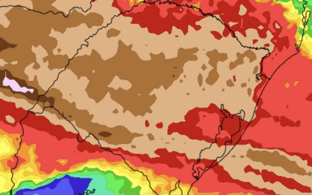 O tamanho do alívio da estiagem com a volta da chuva Volumes elevados de chuva são esperados em diversas regiões do Rio Grande do Sul nos próximos dias