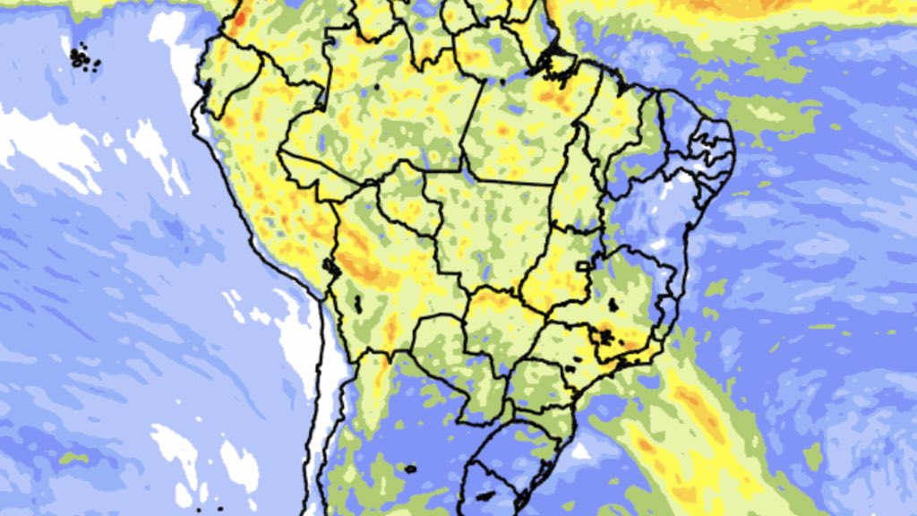 "<span class=""entry-title-primary""><span style='color:#ff0000;font-size:14px;'>CHUVA </span><br> Previsão do tempo – Tendência de chuva para dez dias</span> <span class=""entry-subtitle"">Maiores volumes de chuva seguirão ocorrendo no Centro-Oeste, no Norte e no Sudeste do Brasil </span>"