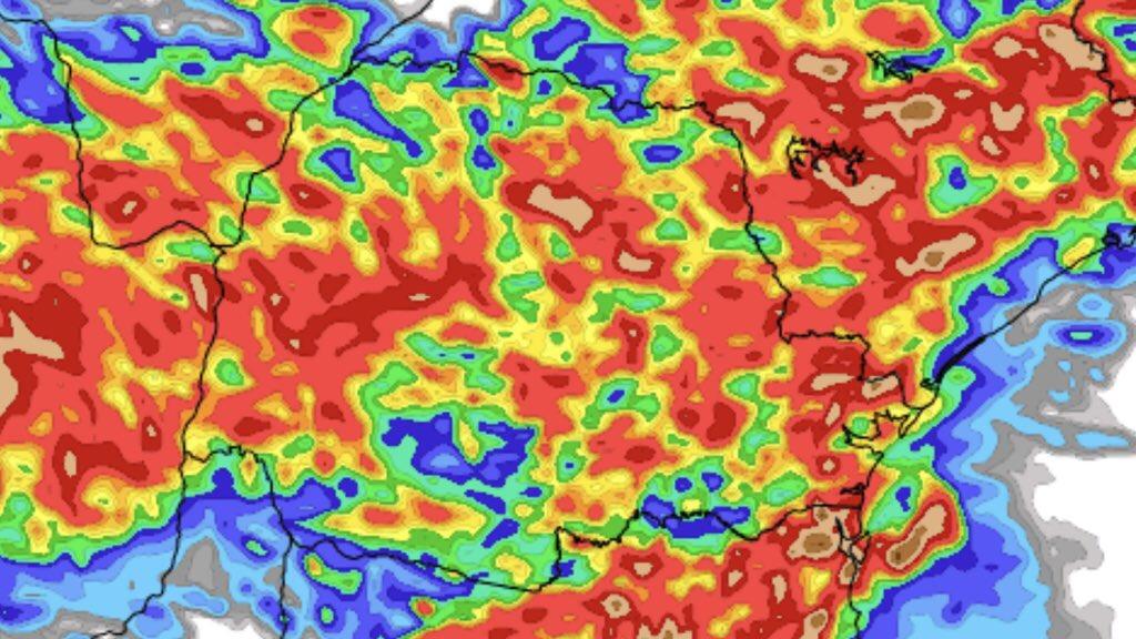 """<span class=""""entry-title-primary""""><span style='color:#ff0000;font-size:14px;'>CHUVA </span><br> Previsão do tempo – Onde mais chove nos próximos dias</span> <span class=""""entry-subtitle"""">Partes do Sul do Brasil devem ter altos volumes de chuva nesta segunda metade da semana </span>"""