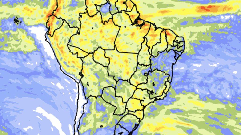 """<span class=""""entry-title-primary""""><span style='color:#ff0000;font-size:14px;'>PREVISÃO DO TEMPO </span><br> Previsão do tempo – Tendência de chuva para dez dias</span> <span class=""""entry-subtitle"""">Volumes muito altos de chuva são esperados no Norte do Brasil </span>"""