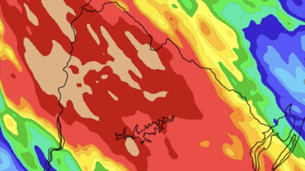 Uruguai tem risco de tempo severo e muita chuva Norte do Uruguai deve ter muita chuva nesta quinta-feira com marcas de mais de 100 mm