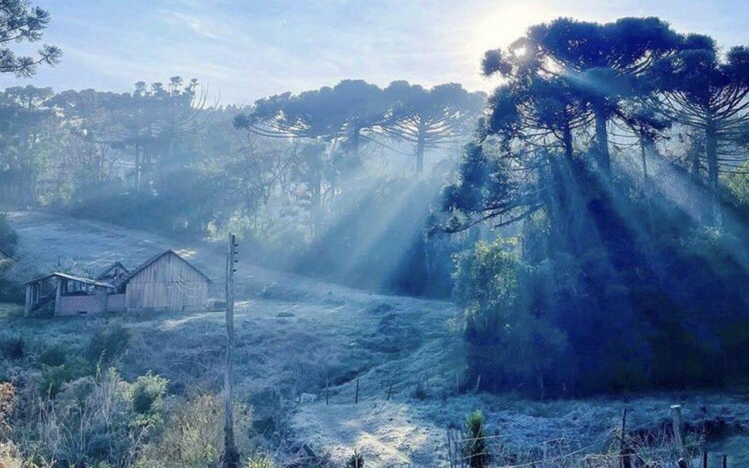Quinta começa muito fria mesmo sem ar polar Massa de ar polar já se foi e é a atmosfera extremamente seca que traz um enorme resfriamento durante a noite