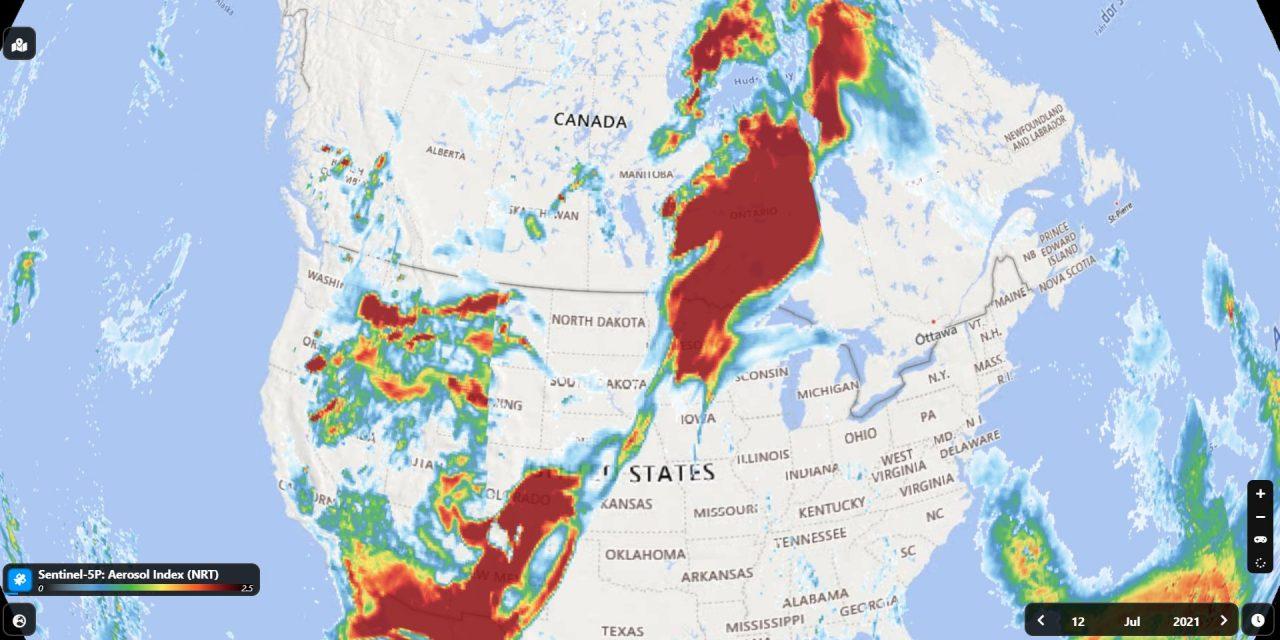"""<span class=""""entry-title-primary"""">Fumaça de incêndios e raios sobre o gelo em pleno Ártico</span> <span class=""""entry-subtitle"""">Imagens de satélite mostram fumaça de incêndios florestais nos Estados Unidos e no Canadá chegando ao Ártico ao mesmo tempo que a região polar enfrenta raras tempestades de raios </span>"""