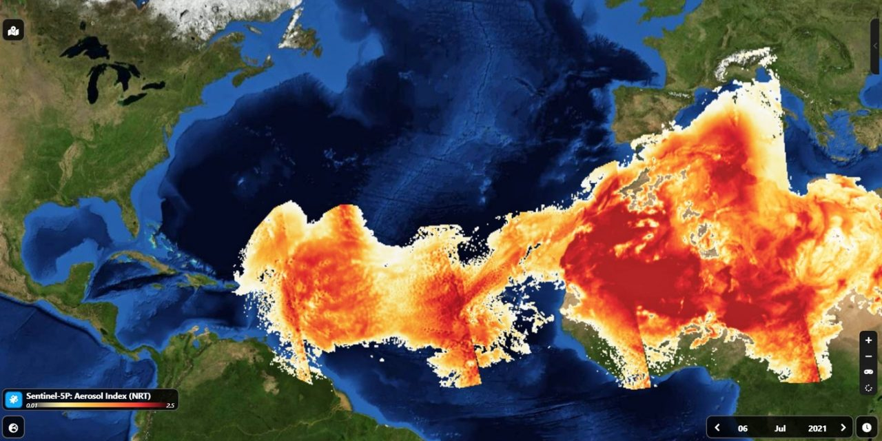 """<span class=""""entry-title-primary"""">Nuvem do Saara que alimenta a Amazônia avança pelo Atlântico</span> <span class=""""entry-subtitle"""">Grande nuvem de poeira do deserto africano é detectada por satélites nesta semana</span>"""