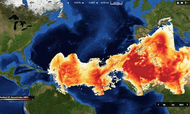 Nuvem do Saara que alimenta a Amazônia avança pelo Atlântico