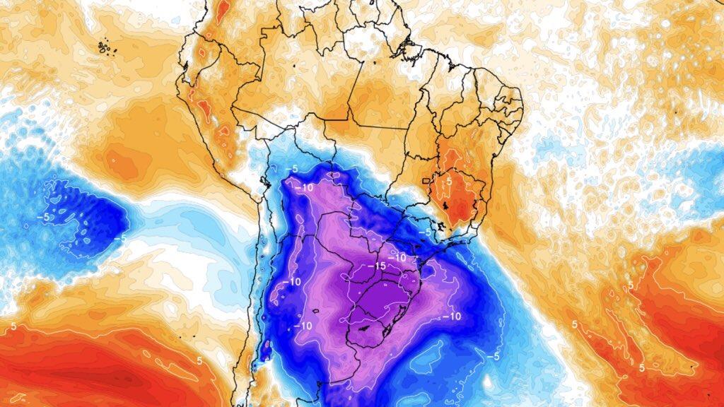 Onda de frio pode ser uma das mais intensas neste século no Brasil Massa de ar de enorme intensidade chega ao Sul do Brasil na próxima semana com temperatura excepcionalmente baixa, alta probabilidade de neve e perspectiva de dias atipicamente gelados por período mais longo que o habitual