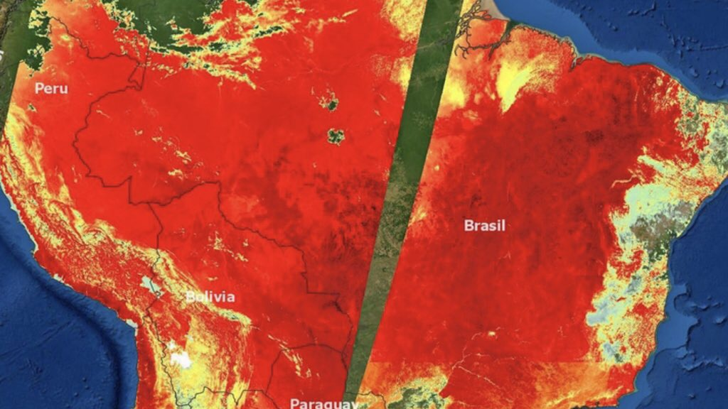 """<span class=""""entry-title-primary"""">Imagem mostra o calor que castiga o Brasil</span> <h2 class=""""entry-subtitle"""">Medição por satélite da temperatura da superfície ilustra a intensidade da onda de calor que atinge o território do Brasil e de países vizinhos na América do Sul m</h2>"""