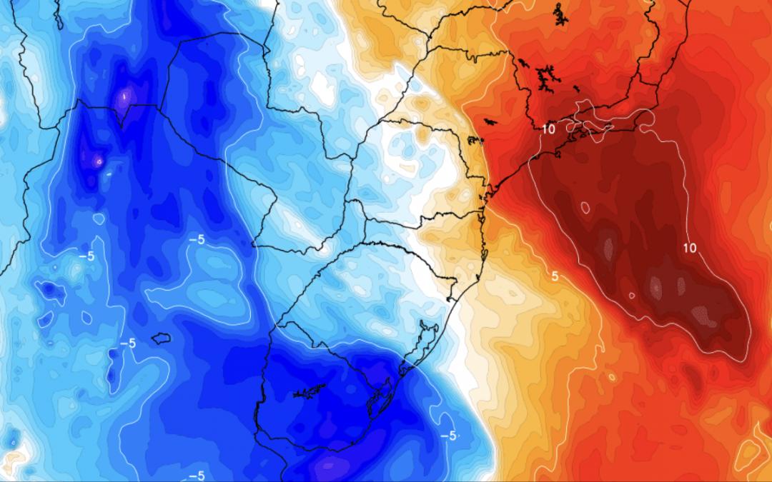 Calor de 40ºC no Sudeste e chegada de massa de ar frio ao Sul do Brasil São Paulo e Rio de Janeiro têm uma terça de calor muito intenso, mas depois refresca com ar frio que trará geada no Sul do Brasil