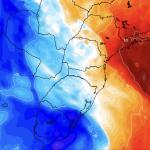 Calor de 40ºC no Sudeste e chegada de massa de ar frio ao Sul do Brasil