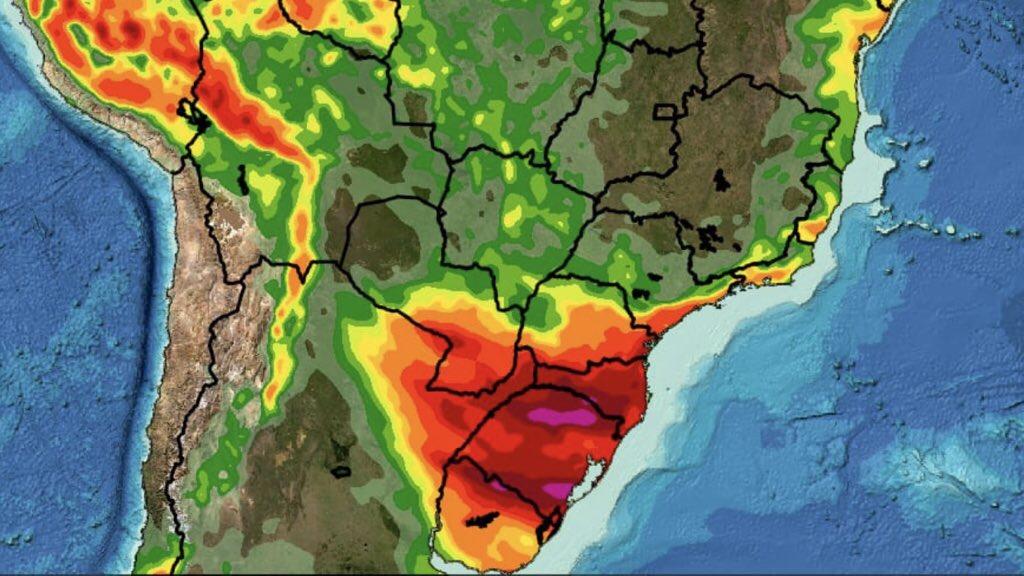 Previsão do tempo Brasil – Tendência de chuva para sete dias Sul do Brasil deve registrar dois episódios de chuva com altos volumes enquanto o Brasil Central segue seco e quente