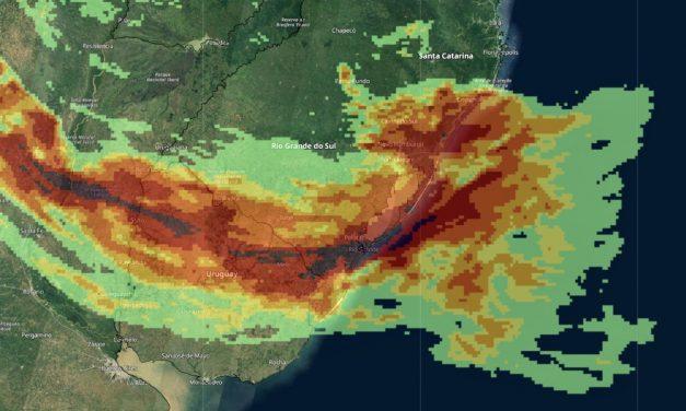 Frente quente trará muita chuva e temporais entre o Rio Grande do Sul e o Uruguai
