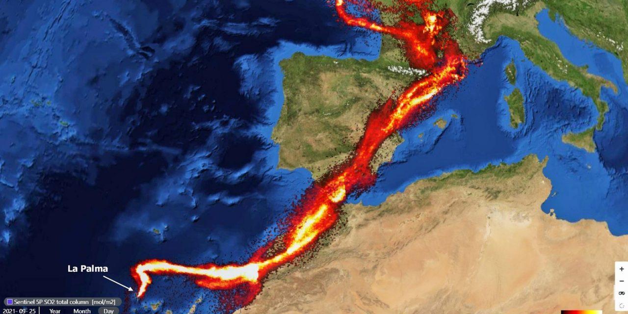 """<span class=""""entry-title-primary"""">Emissões do vulcão de La Palma alcançam Espanha e França</span> <h2 class=""""entry-subtitle"""">Pluma de dióxido de enxofre do vulcão Cumbre Vieja que alcança a Europa não oferece risco para a população</h2>"""