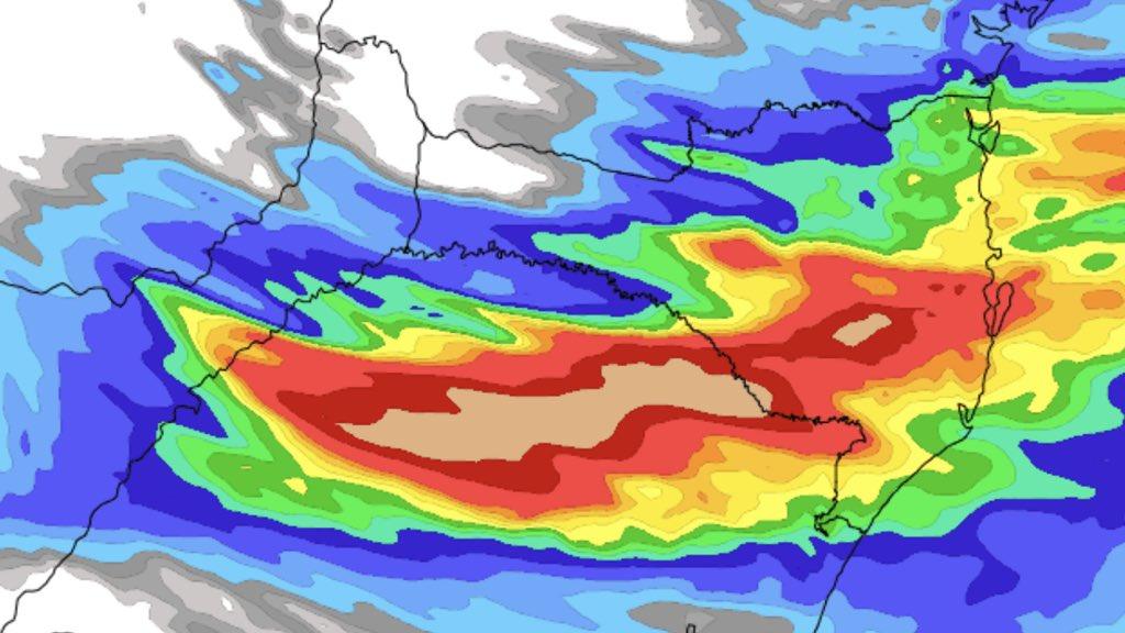 Muita chuva hoje entre o Norte do Rio Grande do Sul e Santa Catarina Volumes de chuva apenas de hoje em algumas cidades gaúchas e catarinenses podem ficar entre 50 mm e 100 mm.